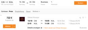 CAI-KUL @ 722€ business