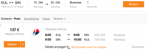 KUL - SIN @ 137€ business